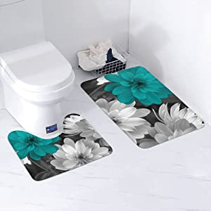 KILOWR Teal Grey Flowers Bathroom Rugs and Mats Sets, Extra Soft Non-Slip and Absorbent Bath Rug Mat for Bathroom Home Decor
