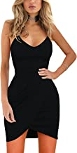 Womens Sexy Spaghetti Straps Deep V Neck Sleeveless Bodycon Dress Midi Clubbing Dress