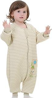 Saco Dormir Infantil con Piernas Sleepwear Mono Algodón para Bebé Niño 2-4 Años Primavera Otoño Rayas - XL - Verde