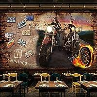 HGFHGD 3D壁紙炎オートバイノスタルジックなレンガの壁の背景装飾壁画レストランカフェ背景壁ステッカー