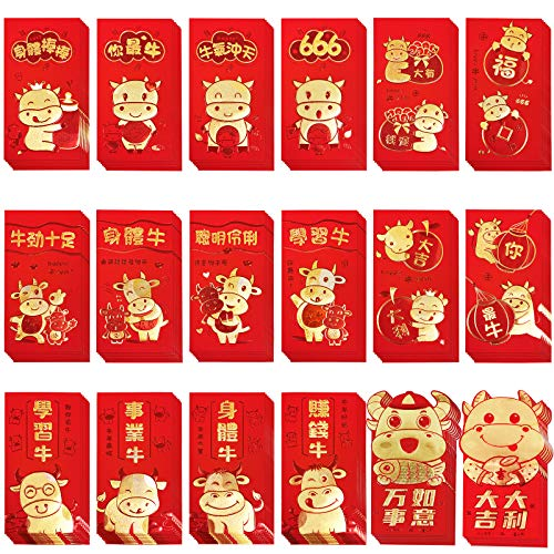 Supla 126 Pcs Chinese Red Envelopes Hong Bao Chinese Lucky Money Envelopes Red Packet Lai See Lucky Packet Cash Envelopes Red Pockets for Chinese New Year 2021 Year Of The Ox Wedding Birthday