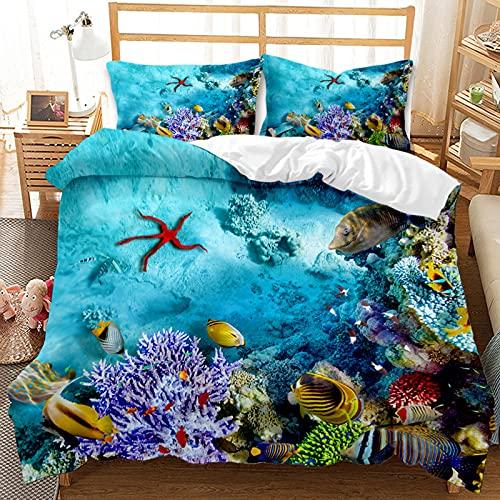 HGUT Juego de ropa de cama 3D, diseño de peces océanos, funda nórdica para niños, niñas,...