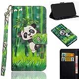 Ooboom Motorola Moto Z3 Play Hülle 3D Flip PU Leder Schutzhülle Handy Tasche Hülle Cover Ständer mit Kartenfach Trageschlaufe für Motorola Moto Z3 Play - Panda Bambus