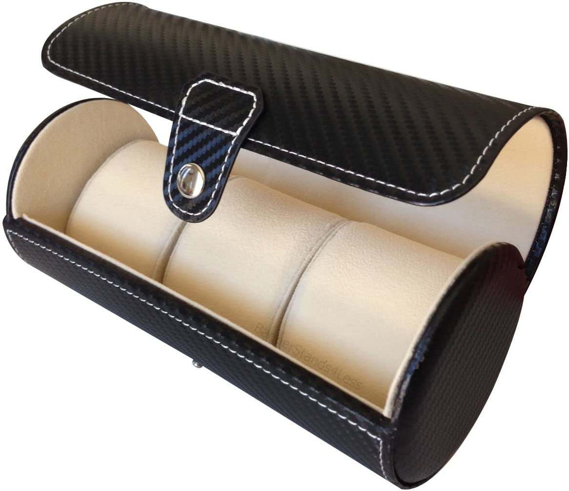 3 Watch Black Carbon Leather Travel Organizer Fiber Storage Roll NEW before selling ☆ Very popular