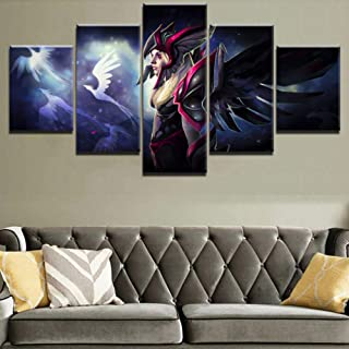 BAOJIAN Canvas Paintings Canvas Picture Home Decor Living Room Wall Art 5 Pieces Vengeful Spirit Painting Hd Print Game Po...