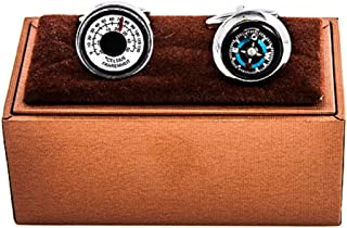 MRCUFF Compass & Thermometer Pair Cufflinks in a Presentation Gift Box & Polishing Cloth