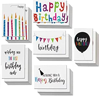Birthday Cards Bulk 48 Pack Assortment Happy Birthday Cards with Envelopes and Seals, Blank Note Cards 4 x 6 inch Handwritten Creative Bold Colorful Design, Blank on the Inside
