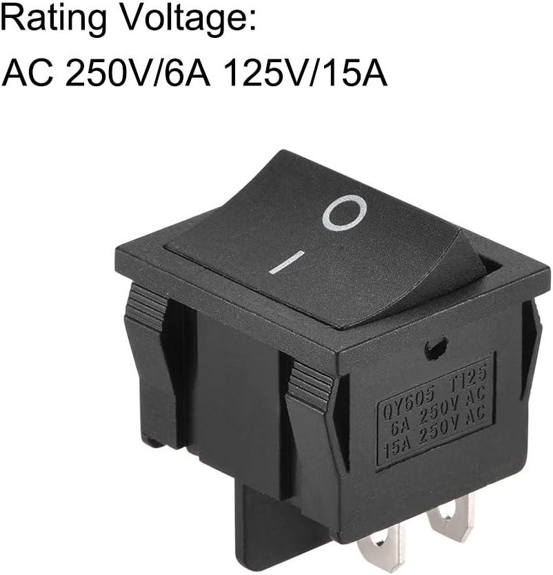 sourcing map Interruptor basculante de bote de palanca de 4 pines de Encendido//Apagado AC 250V//16A 125V//20A 1uds