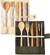 2 Pack Bamboo Travel Cutlery Set, BetterJonny Bamboo Cutlery Reusable Travel Cutlery Set Include Knife Fork Spoon Chopstic...