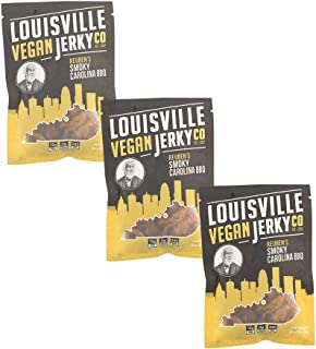 Louisville Vegan Jerky - Smokey Carolina BBQ, Vegetarian & Vegan Friendly Jerky, 21 Grams of Non-GMO Soy Protein, Gluten-Free Ingredients (3 oz) | 3-Pack