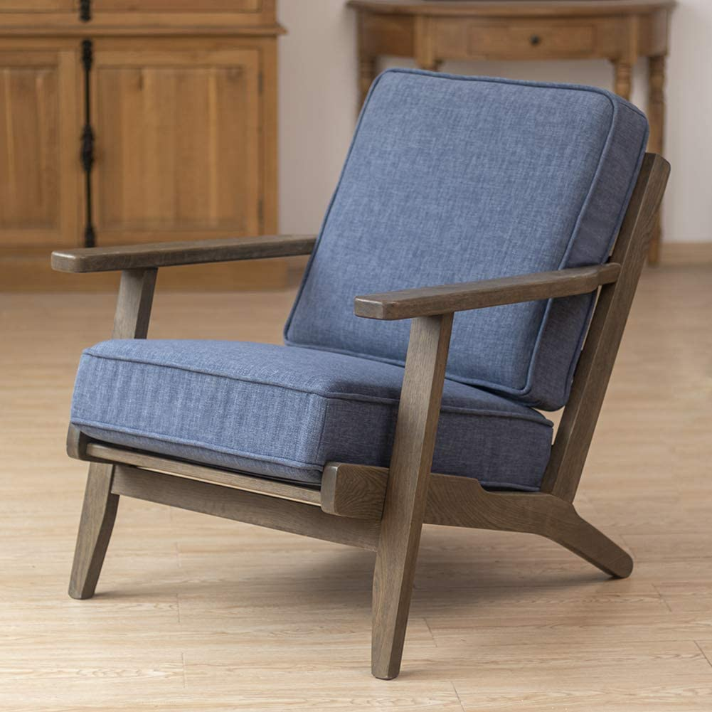 Crestlive Products Oak Mid-Century Accent Armchair Home Upholstered Wooden Lounge Chair with Cushions for Living Room, Bedroom, Dorm (Dark Blue)