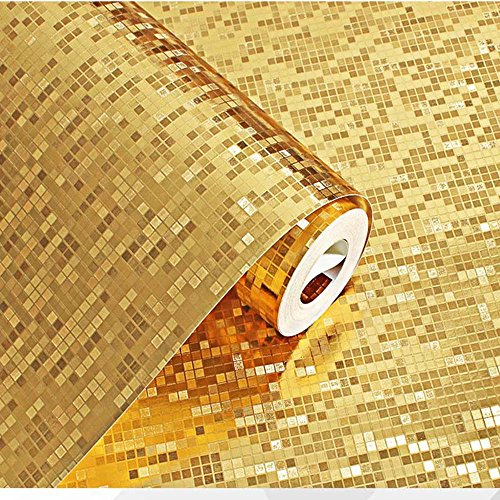 9 Meter 3D Retro Mosaik Dreidimensional PVC Fototapete Top Tapete Wandbilder Bild Tapeten Wand (Gold)