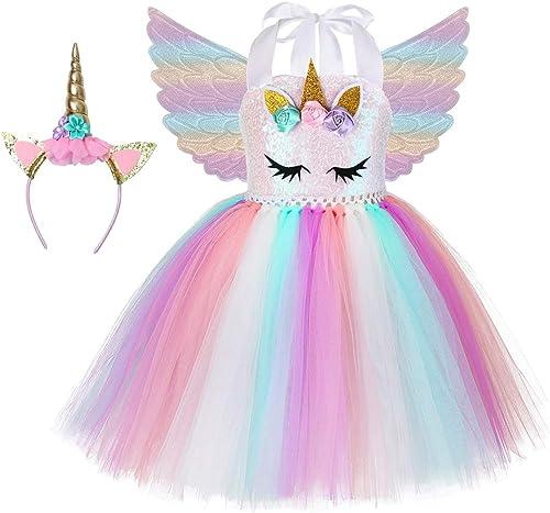 Soyoekbt Unicorn Tutu Dress for Girls Kids Birthday Party Unicorn Costume with Headband