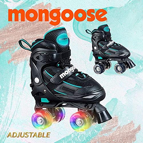 Mongoose Roller Skates for Girls Adjustable with Light Up Wheels Beginner Inline Skates Fun Illuminating for Kids Boys and Girls, Black