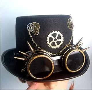 SHENTIANWEI Men Women Black Steampunk Top Hat with Gear Glasses DIY Hat Cosplay Hat Bowler Hat