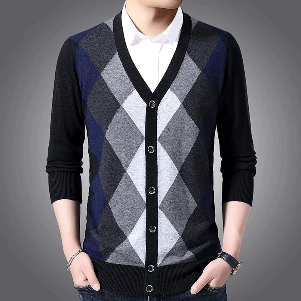 XJJZS 6% Wool Sweaters Mens Cardigan Jumpers Knit Autumn Slim Fit Patterns Slim Fit Casual Men Clothes (Size : XL code, Style : Style One)