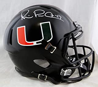 Michael Irvin Autographed Full Size Riddell Miami Hurricanes Black Speed Helmet- JSA W White