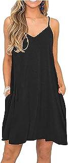 MIDOSOO Women Summer Beach Cover Up Dress Sleeveless Spaghetti Strap Swing Short Dresses with Pockets