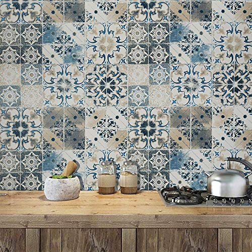 "Tile Peel and Stick Wallpaper Blue Wallpaper Vintage Contact Paper Removable Wallpaper Waterproof Wall Covering Embossed Self Adhesive Wallpaper Shelf Drawer Liner Vinyl Film Wall Paper 197""x17.7"""