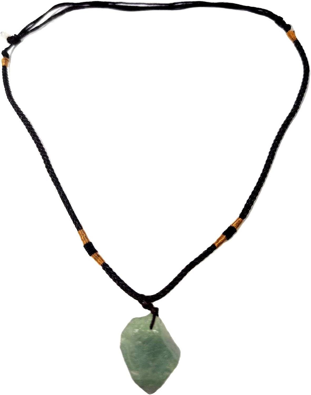 Natural Irregular Green Crystal Pendant Necklace Glittering Rough Meteorite Stone Choker Energy Healing Gemstone Jewelry for Women Men-Green