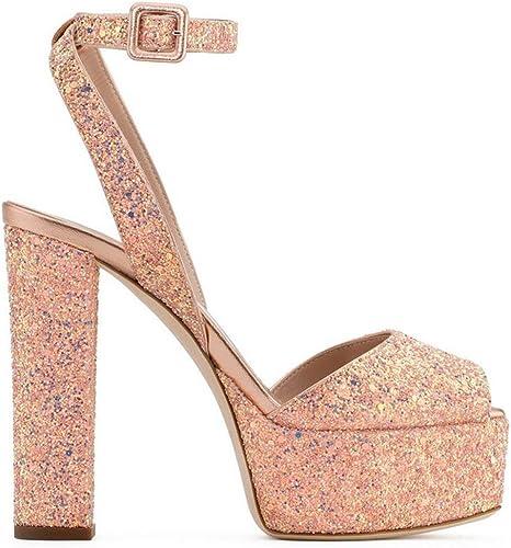 SHINIK Femmes chaussures européennes et américaines dames sexy poissons bouche plate-forme imperméable à talons hauts sandales (Couleur   6, Taille   44)