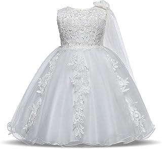 LYQ レースアップリケノースリーブファンシーチュチュチュールドレスリトルガールズキラキラページェントボールガウンキッズ誕生日パーティーフォーマルウエディングドレスホリデーウェディングドレス幼児赤ちゃん女の子プリンセスドレス (色 : 白, サイズ : 80)