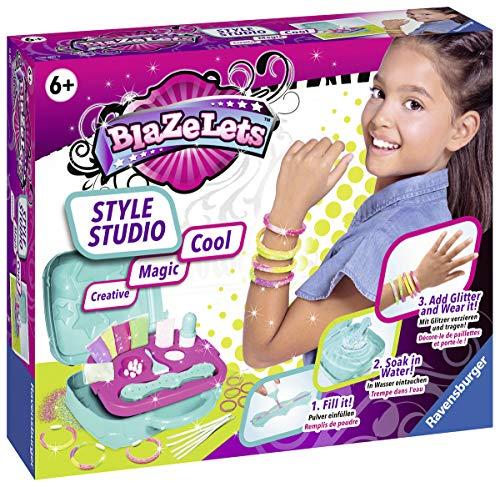 Ravensburger Blazelets Style Studio, Glitzer-Armbänder selber machen, Kreatives Bastelset für Mädchen ab 6 Jahren, stylische Freundschaftsarmbänder