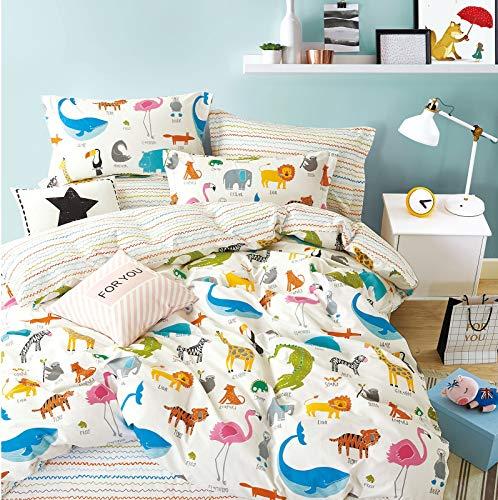 Slumber Suite Bedding Kids Duvet Cover Fitted Sheet Cover Set Animal Zoo Print 100% Cotton (Single Duvet Cover + 1 Pillowcase)