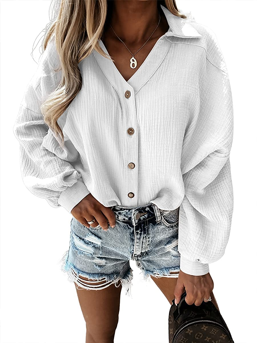Imily Bela Womens Oversized Button Down Shirts Casual Long Sleeve V Neck Collared Blouses Tops