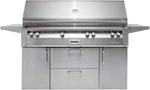 """Alfresco ALXE-56BFGC-LP 56"""" Liquid Propane Standard Grill on Cart Deluxe with 82500 BTU Sear Zone Rotisserie and Built-In Motor in Stainless"""