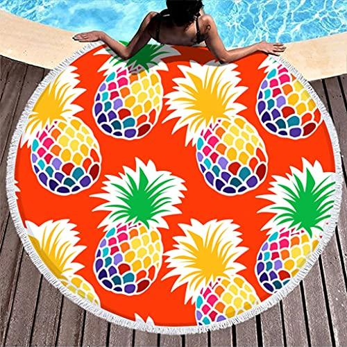 Ktewqmp Toalla de playa redonda con frutos de piña, toalla de playa para hombre, toalla de playa, vacaciones, color blanco, 150 cm