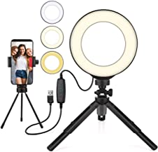 Beauty LED Ring Light Dimmable Selfie Light Kit Makeup Photography Lighting Mini Circle Desktop Lamp Light with Cellphone Holder for YouTube Videos/Photo/Streaming/instagram