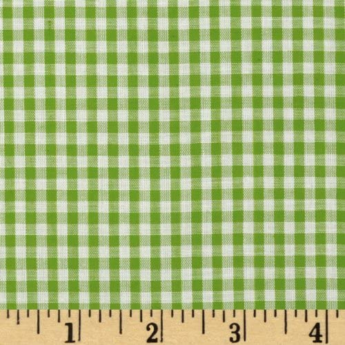 Wide Width 1/8'' Gingham Check Lime, Fabric by the Yard