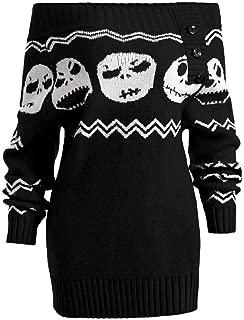 TOTOD Sweater Women, Fashion Womens Long Sleeve Knitted Halloween Skull Off Shoulder Botton Sweaters