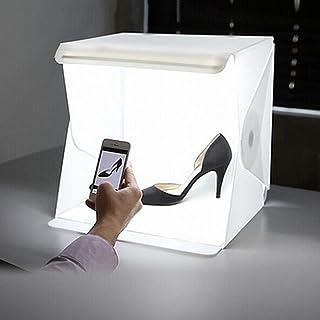 Small Photo Studio Tent, Mini Foldable Photography Studio Portable Light Box Kit ,LED Light Tent (22.6x23x24cm)+ Two Backd...