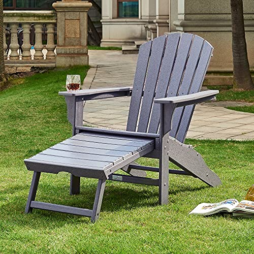 Ehomexpert All-Weather Adirondack Chair with Pull-Out...