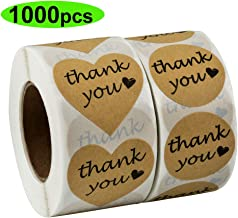 Thank You Stickers, 1000 pcs Kraft Heart Shape and Round Adhesive Labels Sticker for Gift, Wedding, Party, Thank You Card, Sealing Tissue Paper,Bridal Shower