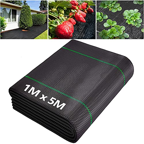 Timebox Gartenvlies, Unkrautvlies, Unkrautfolie Wasserdurchlässig, 100g/m² UV-Stabilisierung Reißfestes Bodengewebe Unkrautfolie für Gärten, Bürgersteige (1x 5M)…