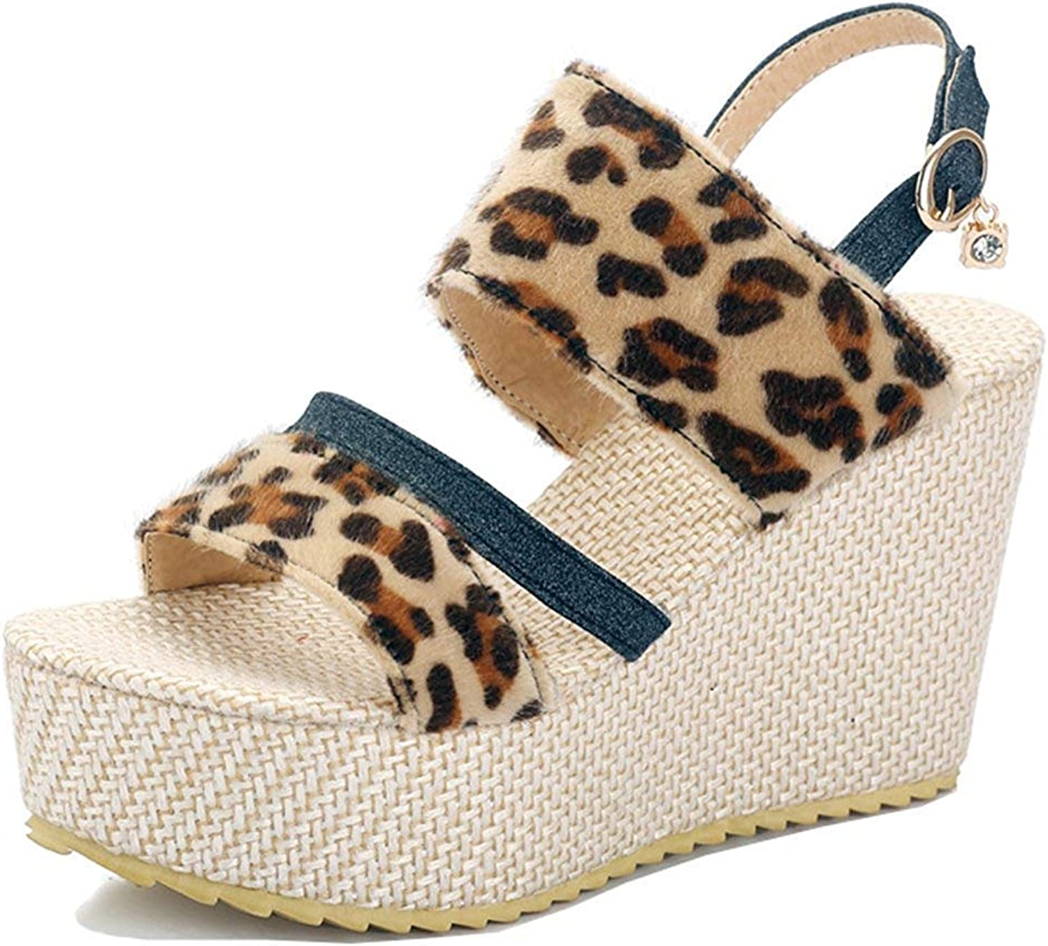 Unm Women's Espadrille Wedge Sandals with Buckle - Platform Open Toe High Heels - Leopard Ankle Strap