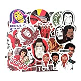 XXCKA Money Heist House of Paper Stickers Packs Anime 90S Anime Paster Cosplay Scrapbooking DIY Phone Laptop Decoración Regalos 50 Uds
