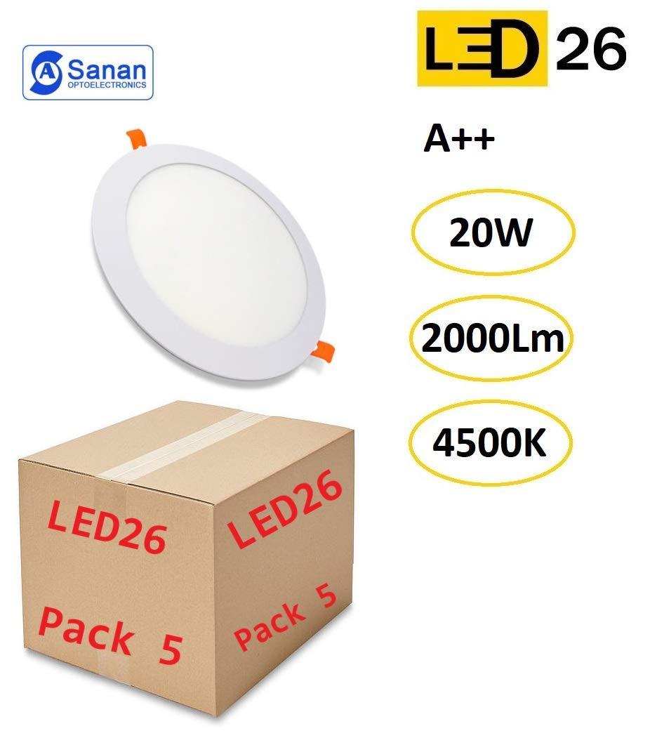 Pack de 5 Paneles LED Downlight Redondo Plano 20W Blanco De Empotrar 220mm 4500K Luz Blanca Neutra [Clase de eficiencia energética A++]: Amazon.es: Bricolaje y herramientas