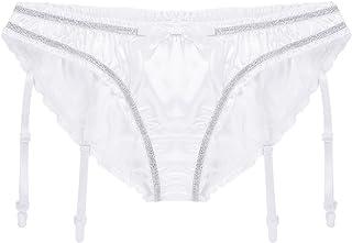 Freebily Sissy Pouch Panties Men's Satin Ruffled Garter Thong Briefs Hot Underwear