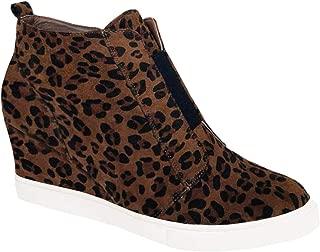 Womens Leopard Wedge Sneakers Platform Slip On High Top Mid Heel Ankle Booties