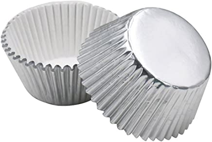 ROSENICE Cupcake Liners Aluminum Foil Cups Cake Muffin Molds for Baking (Silver) - 100