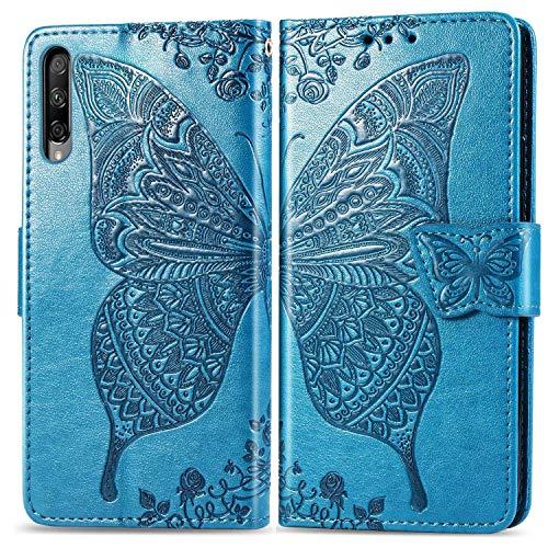Bravoday Handyhülle für Huawei Honor 9X Pro Hülle, Stoßfest PU Leder Tasche Flip Hülle Schutzhülle für Huawei Honor 9X Pro, mit Kartenfäch und Kickstand, Blau