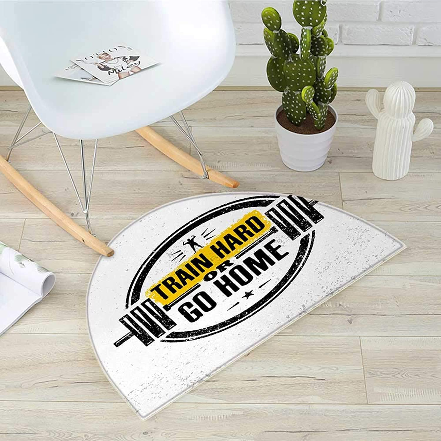 Fitness Half Round Door mats Train Hard or Go Home Stamp Like Design Strong Sportsman Barbell Circle Bathroom Mat H 39.3  xD 59  Black White Yellow