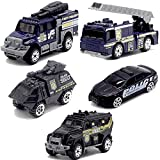 JQGT 5pcs Assorted SWAT Die Cast Metal Alloy Car Models Mini Play Vehicles Truck Cars Toy for Kids Toddlers Boys (Styles May Vary)