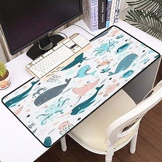 Luoquan Alfombrilla Raton Grande Gaming Mouse Pad,Summer Aquarium Star Cute Beach Fish Kawaii Baby Set Cangrejo Ballena Na...