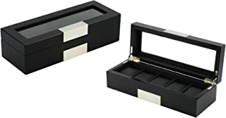 TimelyBuys 5 Ebony Wood Watch Box Display Case Storage Jewelry Organizer with Glass Top, Stainless Steel Accents, and Oversized Black Pillows Father`s