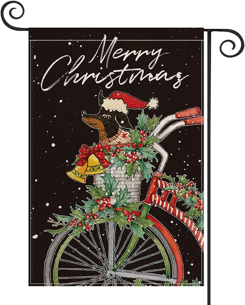 AVOIN colorlife Merry Christmas Bicycle Garden Flag 12x18 Inch Vertical Double Sided, Dog Holly Red Berries Dachshund Winter Farmhouse Yard Outdoor Decoration